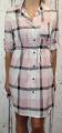 Dámské košilové šaty s páskem - kostkované - růžovo-bílé