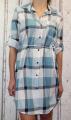 Dámské košilové šaty, dámská dlouhá košile, dámská košilová tunika, lehká dlouhá košile, košilové šaty, kostkované šaty zelené, letní dámské šaty Italy Moda