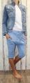 Dámské 3/4 kalhoty se spadlým sedem Baggy - sv.modré