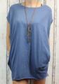 Dámské bavlněné šaty/tunika kr.rukáv s příveskem - modré