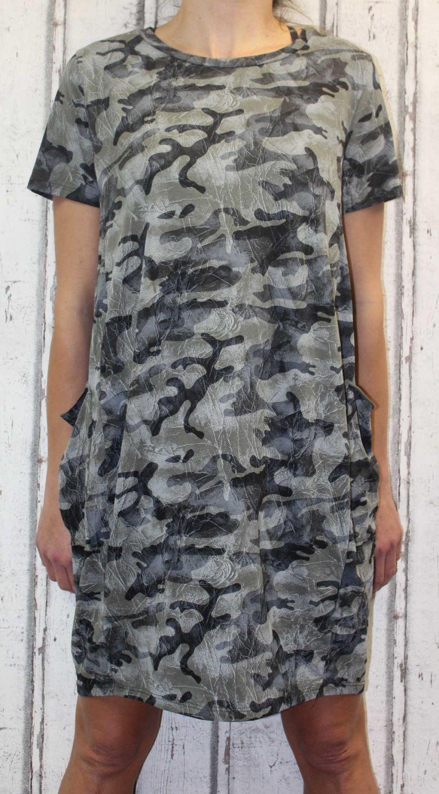 Dámské letní šaty, plážové šaty, dámská tunika, pohodlné šaty, volné šaty, maskáčové šaty Italy Moda