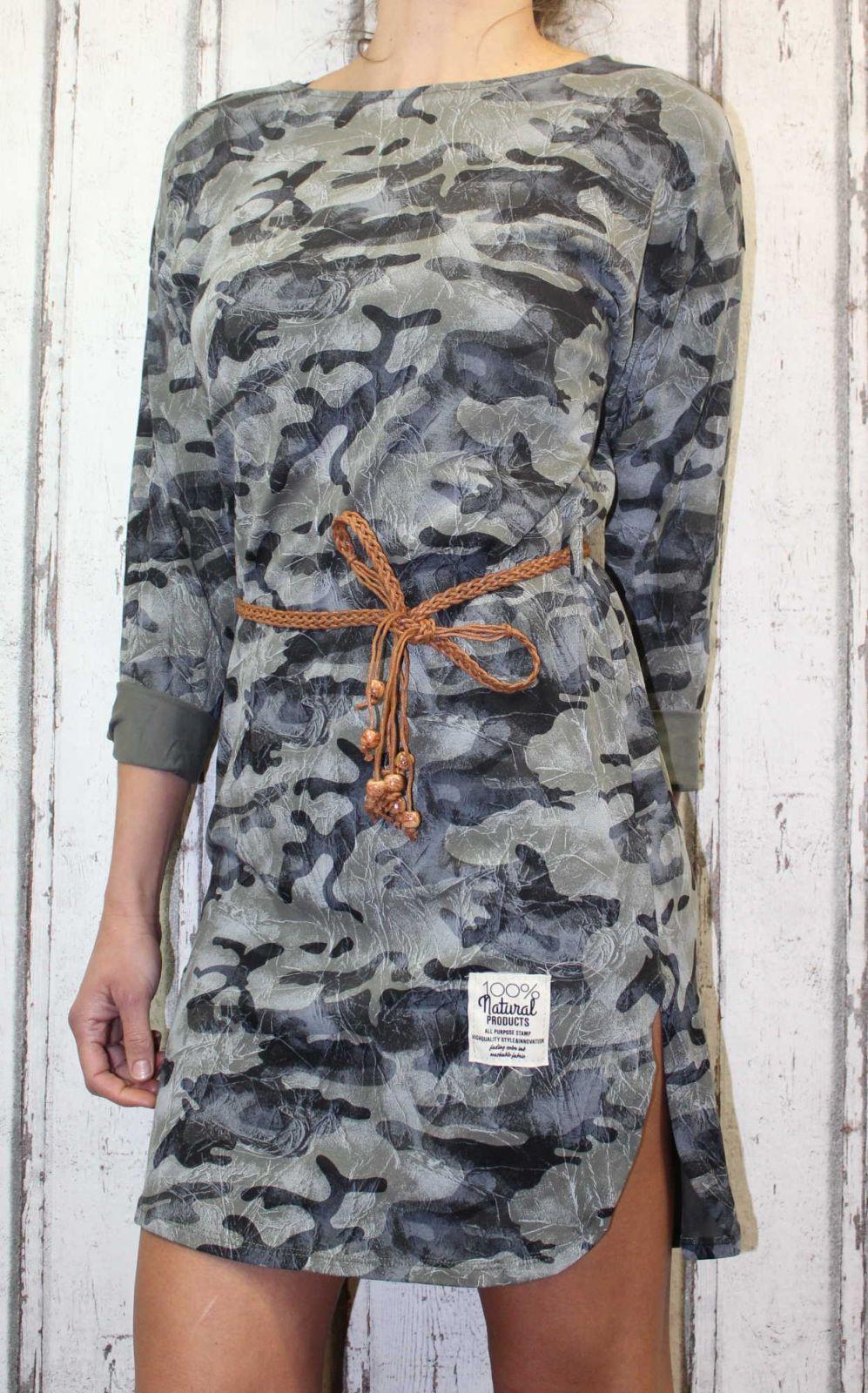 Dámské letní šaty, plážové šaty, dámská tunika, pohodlné šaty, dámské šaty s páskem, pouzdrové šaty, maskáčové šaty Italy Moda