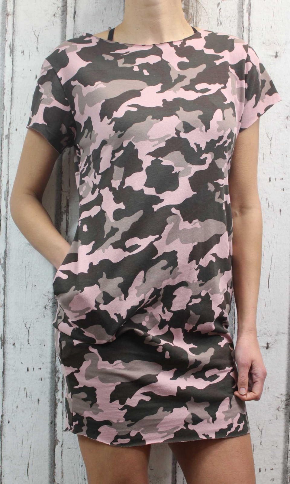 Dámské maskáčové šaty plážové šaty, dámská tunika, pohodlné šaty dámské šaty maskáčové růžové Italy Moda