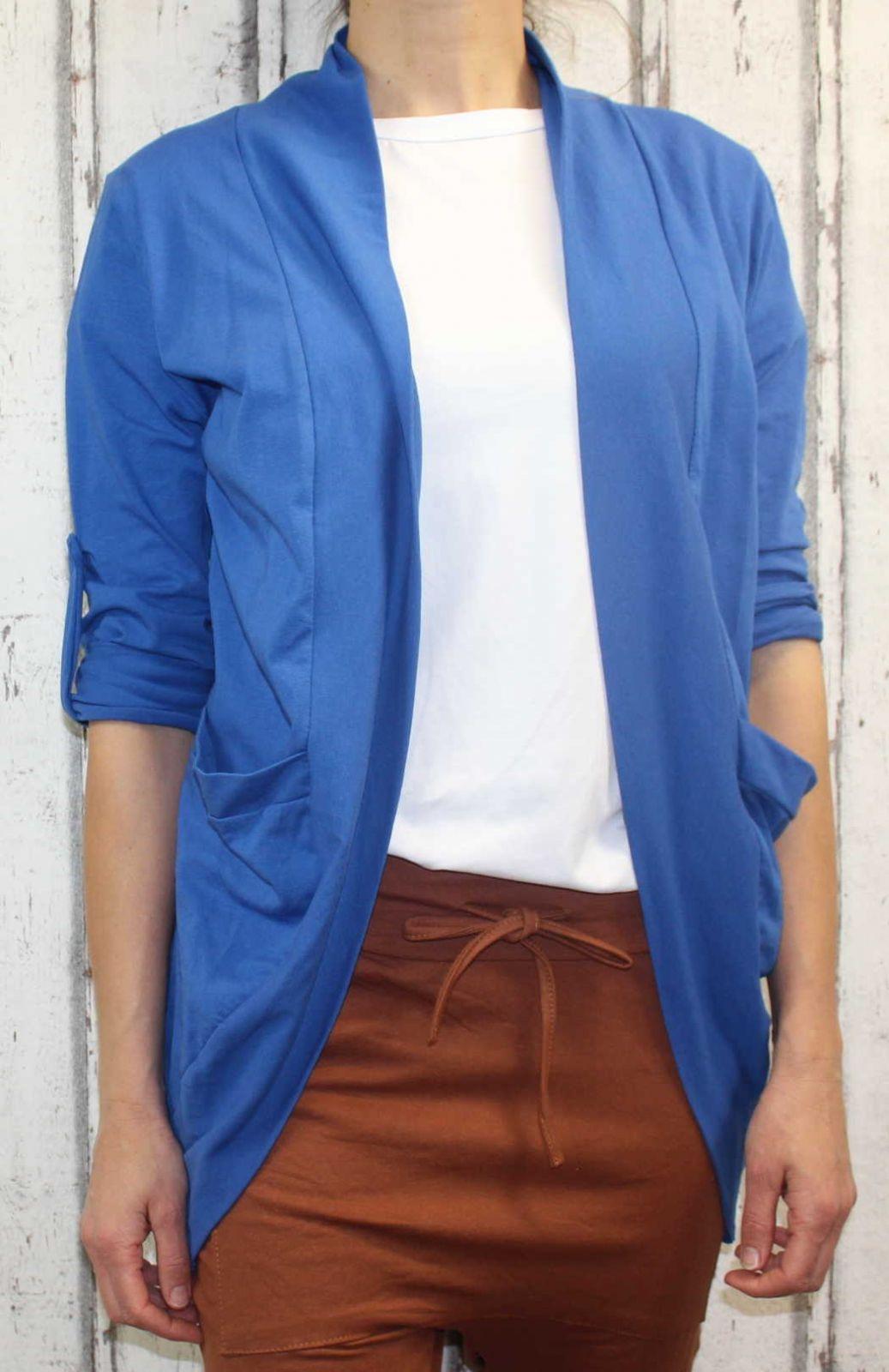 Dámské sako, dámský kardigan, letní kardigan, letní přehoz, dámské bavlněné sako, lehký kardigan, modrý kardigan Italy Moda