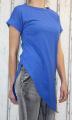 Dámské tričko krátký rukáv, dámské dlouhé tričko se zkoseným střihem, dlouhé modré tričko, dámská tunika Italy Moda