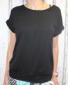 Dámské volné tričko kr.rukáv s průstřihem na zádech - černé