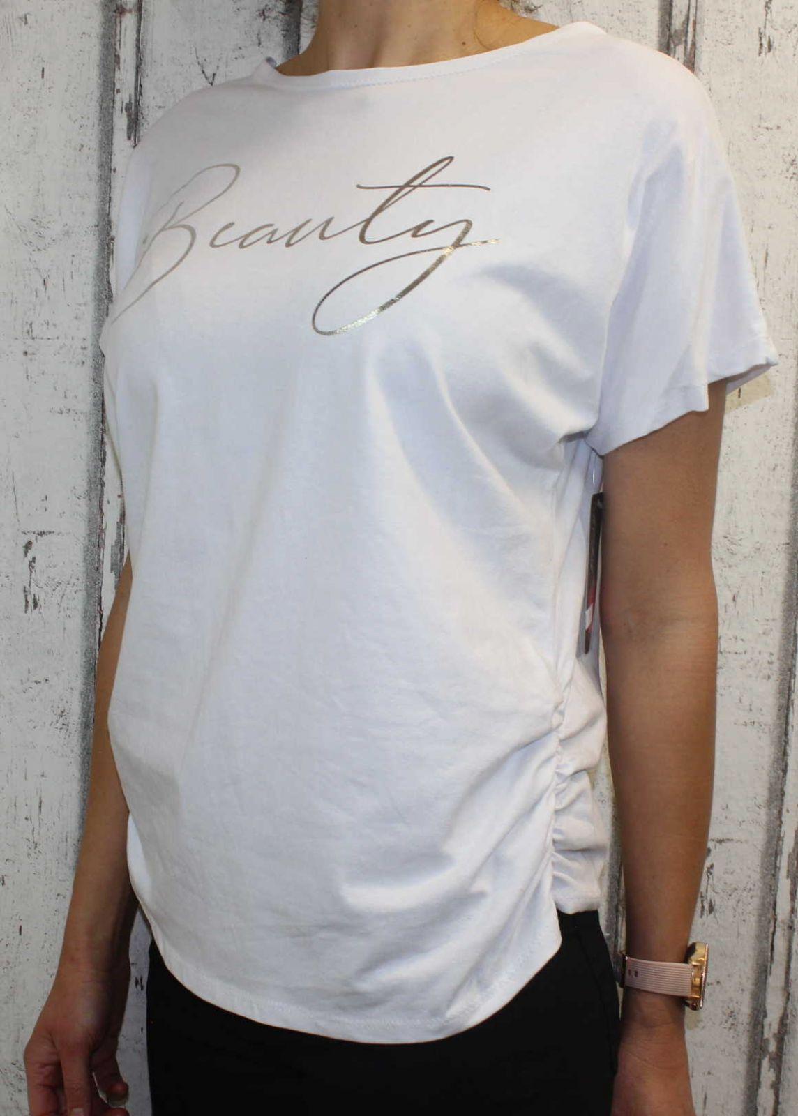 Dámské tričko krátký rukáv, tričko spadlá ramena, dámské volné triko, pohodlné dámské tričko, dámská tunika, volné tričko přes břicho, tričko s rantlem, bílé volné tričko s nařasením na bocích Italy Moda