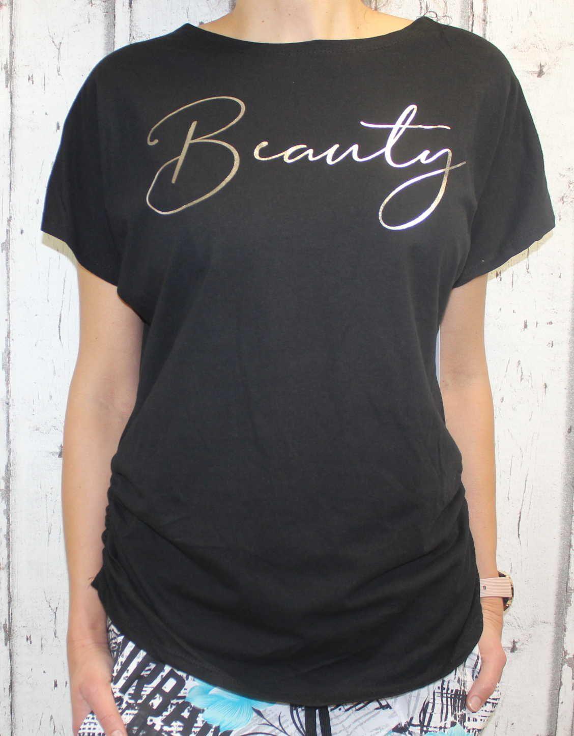Dámské tričko krátký rukáv, tričko spadlá ramena, dámské volné triko, pohodlné dámské tričko, dámská tunika, volné tričko přes břicho, tričko s rantlem, černé volné tričko s nařasením na bocích Italy Moda