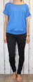 Dámské tričko krátký rukáv, tričko spadlá ramena, dámské volné triko, pohodlné dámské tričko, dámská tunika, tunika s průstřihem na zádech, volné tričko přes břicho, tričko s rantlem, modré volné tričko Italy Moda