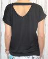 Dámské tričko krátký rukáv, tričko spadlá ramena, dámské volné triko, pohodlné dámské tričko, dámská tunika, tunika s průstřihem na zádech, volné tričko přes břicho, tričko s rantlem, černé volné tričko Italy Moda