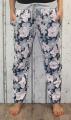 Dámské baggy, tepláky s lehce spadlým sedem - kytky - růžovo-modré UNI velké L-XXXL