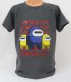 Triko krátký rukáv Among Us, chlapecké tričko Among Us, oblečení Among Us, bavlněné tričko Among Us, šedé tričko Among Us | 140, 146, 152, 164, 176