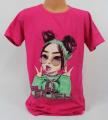 Dětské bavlněné tričko Billie Eilish - tm. růžové