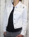 Dámská džínová bunda bílá, letní džínová bunda, džínová elastická bunda, džínová bunda, moderní džínová bunda, bílá džíska, rozdrbaná džínová bunda Italy Moda