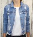 Dámská, pružná džínová bunda - modrá - trhaná - Vel. S - 2XL