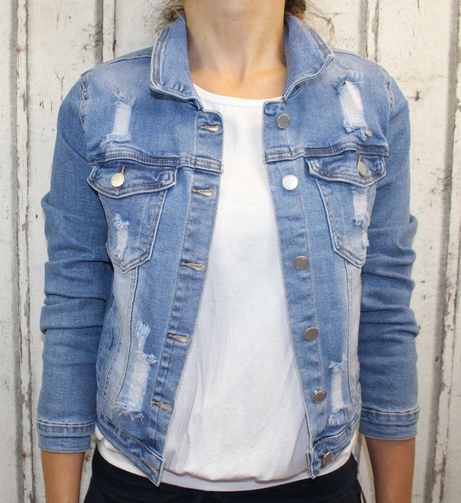 Dámská džínová bunda modrá, letní džínová bunda, džínová elastická bunda, trhaná džíska, modrá džínová bundička, modrá džíska Italy Moda
