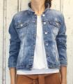 Dámská džínová bunda modrá, letní džínová bunda, džínová elastická bunda, trhaná džíska, modrá džínová bundička, modrá džíska, velká džínová bunda, velká džíska