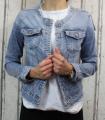 Dámská džínová bunda modrá, letní džínová bunda, džínová elastická bunda, modrá džíska, modrá džínová bundička, džínová bunda bez límce Italy Moda