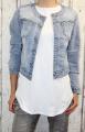 Dámská džínová bunda modrá, letní džínová bunda, džínová elastická bunda, džínová bunda, moderní džínová bunda, modrá džíska, rozdrbaná džínová bunda Italy Moda