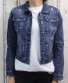 Dámská džínová bunda tmavě modrá, letní džínová bunda, džínová elastická bunda, modrá džíska, modrá džínová bundička, džínová trhaná bunda Italy Moda