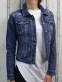 Dámská džínová bunda, lehce trhaný vzhled tm.modrá - vel. XS - 3XL