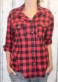 Dámská flanelová oversize košile - kostkovaná - červeno-černá