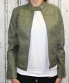 dámská koženková bunda, khaki bunda z imitace kůže, dámská khaki bundička, kožená bunda, jarní bunda | L, XL, 2XL
