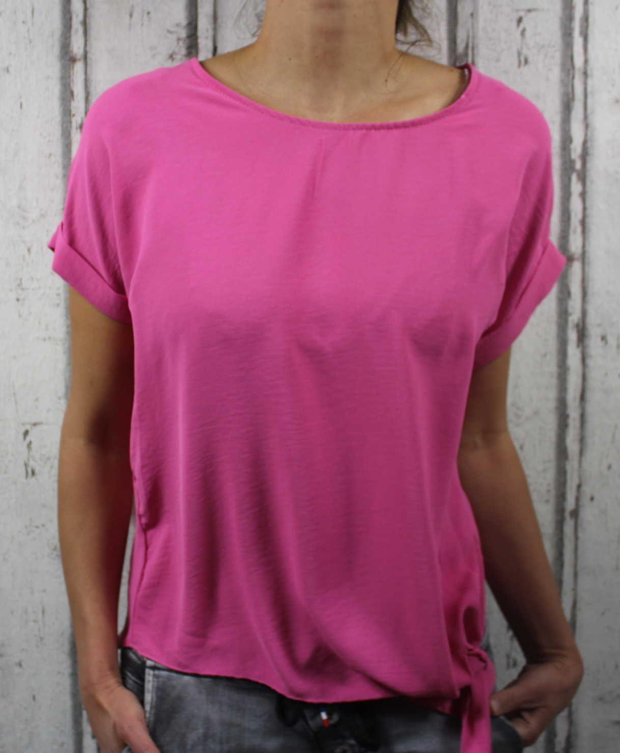Dámská tunika, dámské tričko volný střih, dámská halenka, dámská halenka s uzlem růžová Italy Moda
