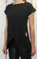 Dámské dlouhé tričko - přední část šikmý střih - černé