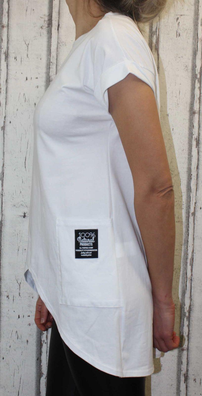 Dámské bavlněné tričko krátký rukáv dámské dlouhé tričko, tričko šikmý střih, zešikmené tričko, bavlněné dlouhé tričko, dámská dlouhá tunika, bílé dlouhé tričko Italy Moda
