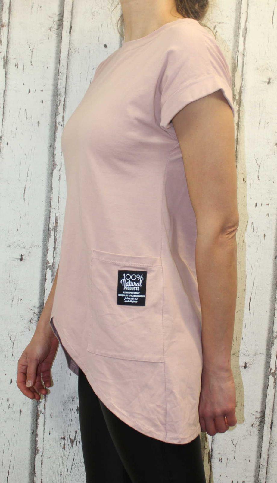 Dámské bavlněné tričko krátký rukáv dámské dlouhé tričko, tričko šikmý střih, zešikmené tričko, bavlněné dlouhé tričko, dámská dlouhá tunika Italy Moda