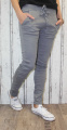 Dámské mačkané, plátěné kalhoty - šedé