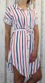 Dámské košilové šaty se stahováním v pase-pruhy-bílo-modro-červené