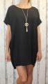 Dámské letní volné šaty s přívěskem - černé