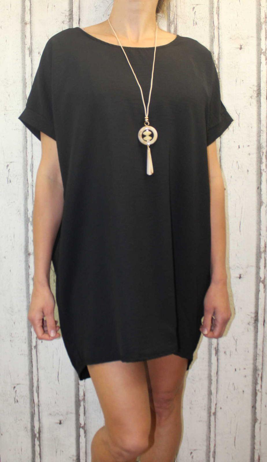 Dámské letní šaty, plážové šaty, dámská tunika, pohodlné šaty, dámské volné šaty, volná tunika, černé letní šaty Italy Moda
