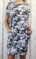 Dámské bavlněné maskáčové šaty - volný střih - šedé