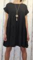Dámské oversize šaty s přívěskem - černé