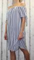 Dámské letní šaty se spadlými rameny - pruhy - bílo-modré