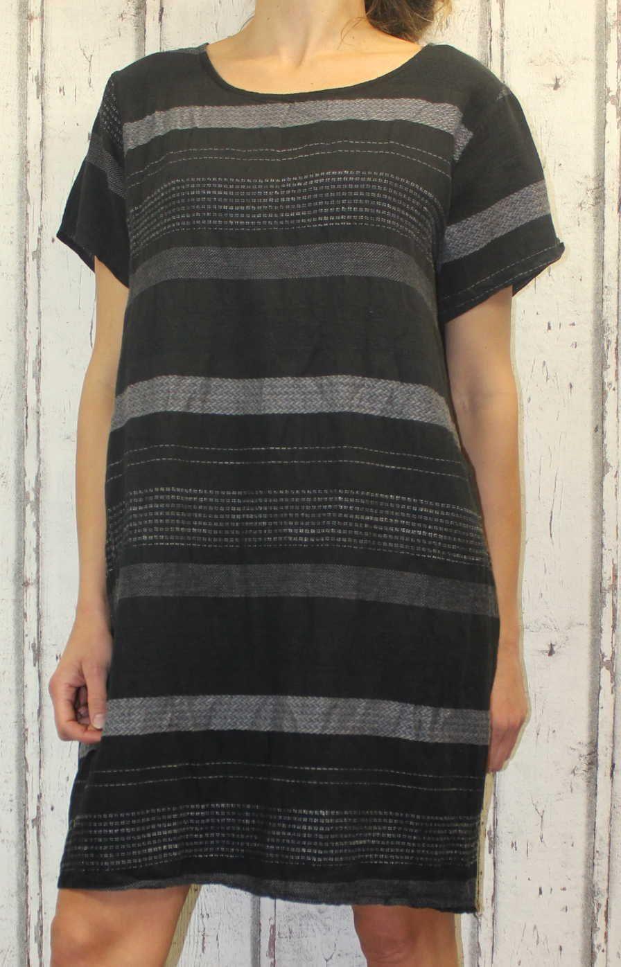 Dámské šaty, plážové šaty, pohodlné šaty, pruhované šaty, vzdušné šaty, černé letní šaty