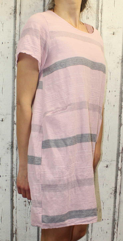 Dámské šaty, plážové šaty, pohodlné šaty, pruhované šaty, vzdušné šaty, starorůžové letní šaty