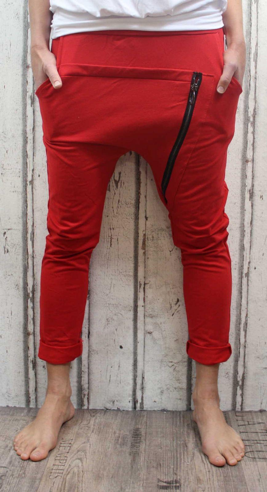 Dámské tepláky se spadlým sedem, červené dámské baggy, tepláky s nízkým sedem, spadlé tepláky, dámské tepláky se zipem, bavlněné tepláky Italy Moda