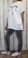 Dámské tričko krátký rukáv, široké bílé tričko, volná tunika, bavlněné triko, bavlněná volná tunika Italy Moda