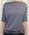 Dámské tričko - spadlá ramena - modro-šedé pruhy