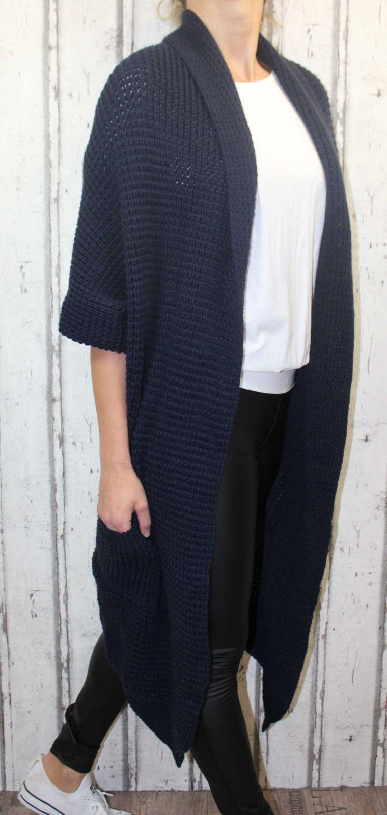 Dámský dlouhý pletený kardigan dámský dlouhý svetr, dlouhý letní svetr, dámský pletený kardigan, dámský pletený modrý kardigan Italy Moda