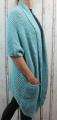 Dámský dlouhý pletený svetr-kardigan- kr. rukáv - zelený