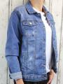 Dámská džínová bunda modrá, letní džínová bunda, džínová elastická bunda, pružná džíska, modrá džínová bundička, modrá džíska, velká džínová bunda, velká džíska, tmavě modrá džíska, trhaná džínová bunda | 2XL, 3XL, 4XL, 5XL, 6XL
