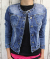 Dámská džínová bunda bez límce - tm.modrá - vel. XS - XL