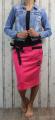 Dámská sukně, bavlněná sukně, sukně pod kolena, tepláková sukně, sukně se zavazováním, růžová sukně Italy Moda