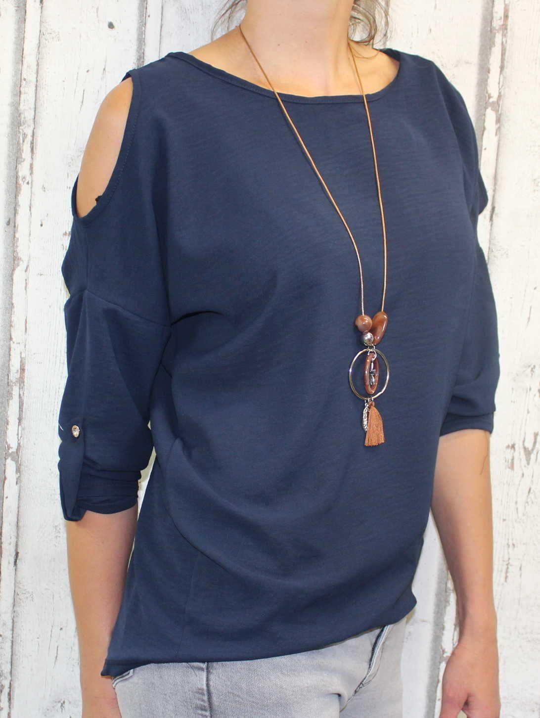 Dámská tunika, dámské tričko volný střih, dámská halenka tričko s výstřihem na ramenou, modrá halenka Italy Moda