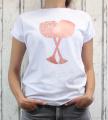 Dámské bavlněné tričko - skleničky - bílé